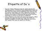 etiquette of du a15