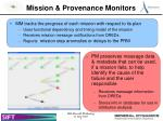 mission provenance monitors