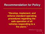 recommendation for policy