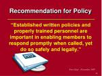 recommendation for policy54