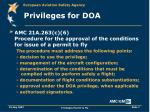 privileges for doa