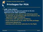 privileges for poa