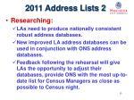 2011 address lists 2