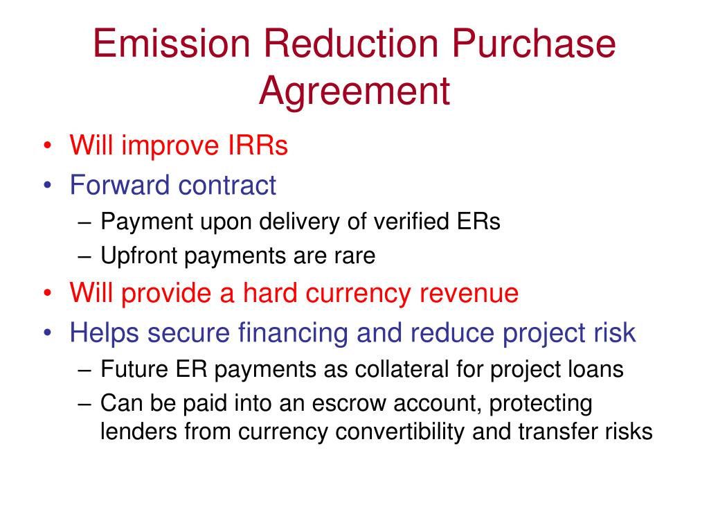 Emission Reduction Purchase Agreement