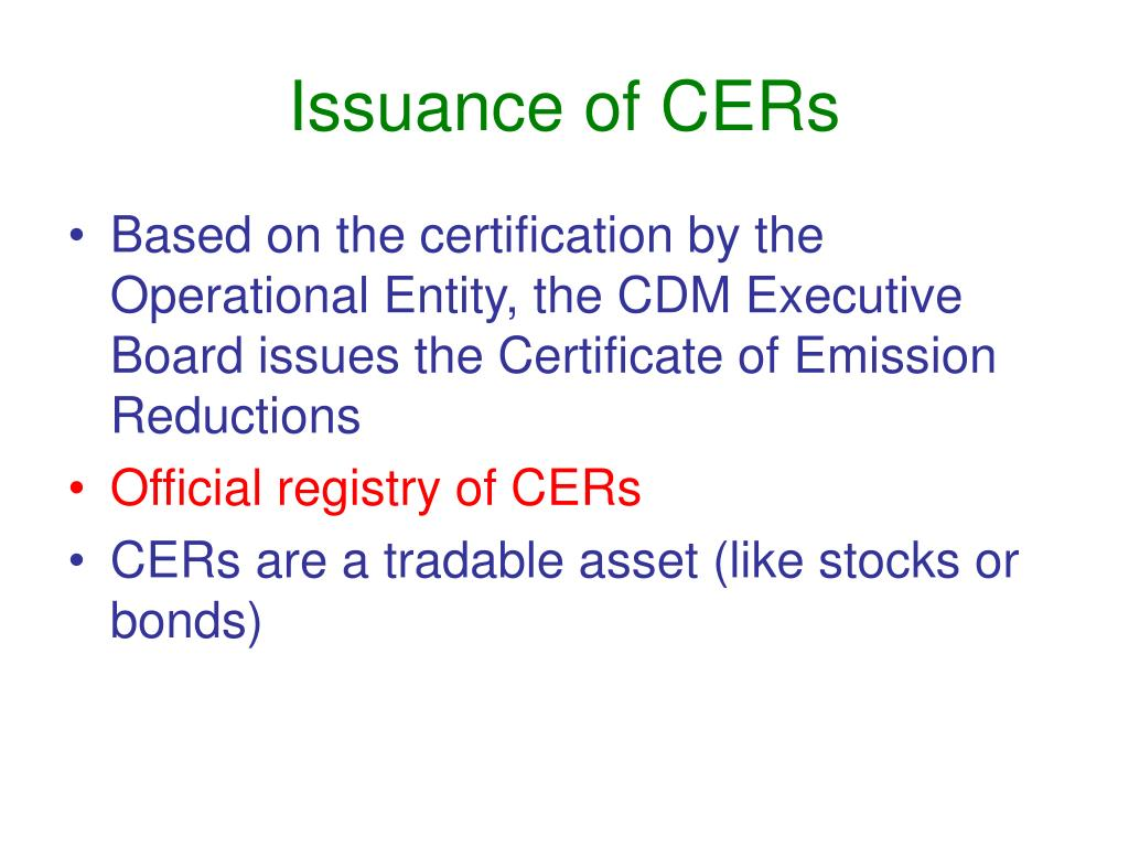 Issuance of CERs
