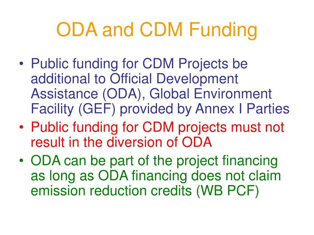 ODA and CDM Funding