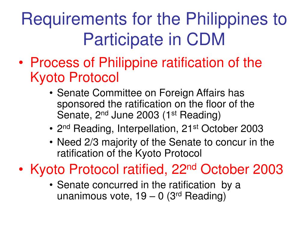 Requirements for the Philippines to Participate in CDM