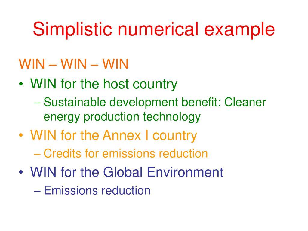 Simplistic numerical example