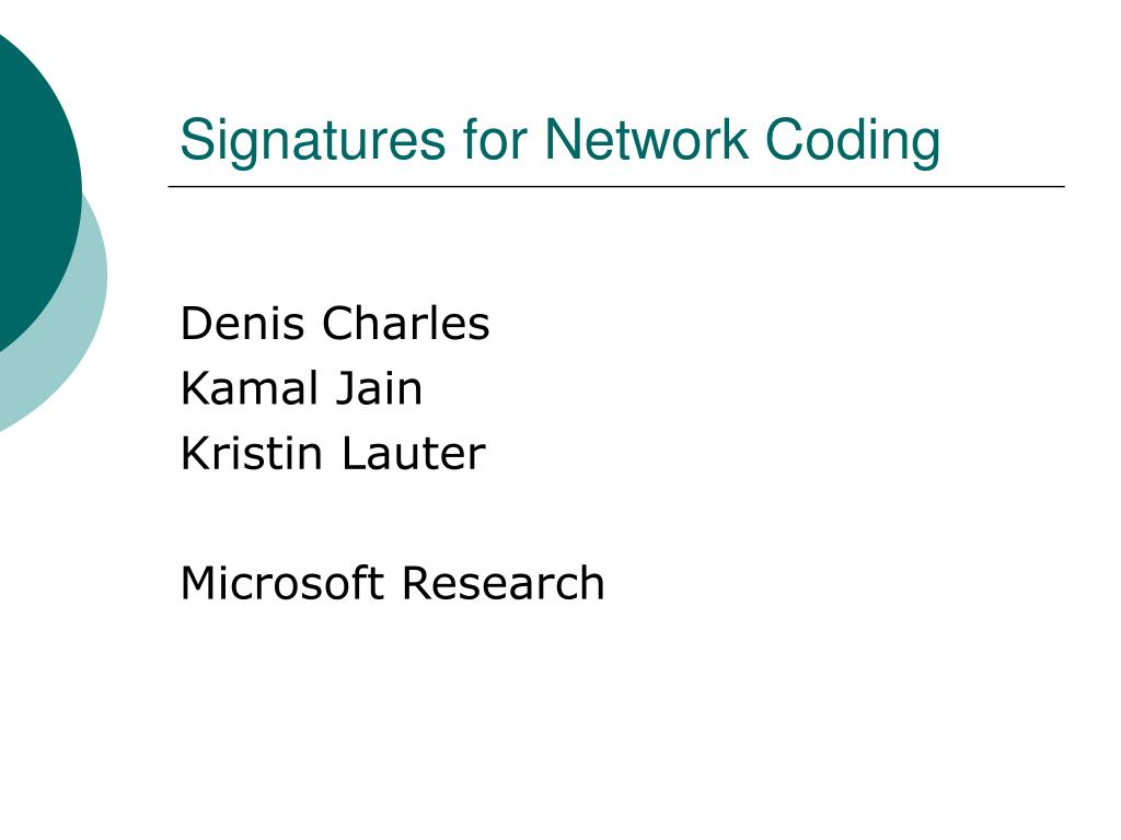 signatures for network coding l.