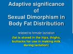 adaptive significance of sexual dimorphism in body fat distribution