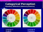 categorical perception boundary difference absence presence