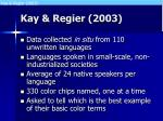 kay regier 2003