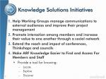 knowledge solutions initiatives