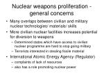 nuclear weapons proliferation general concerns
