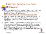 criterion sample selection references
