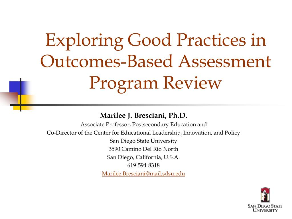 exploring good practices in outcomes based assessment program review l.