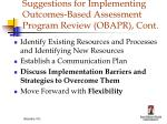 suggestions for implementing outcomes based assessment program review obapr cont