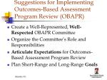 suggestions for implementing outcomes based assessment program review obapr