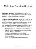 multistage sampling designs