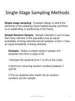 single stage sampling methods