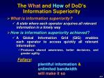the what and how of dod s information superiority