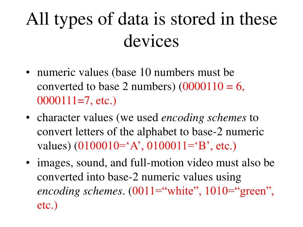 All types of data is stored in these devices