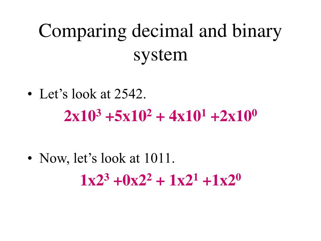 Comparing decimal and binary system