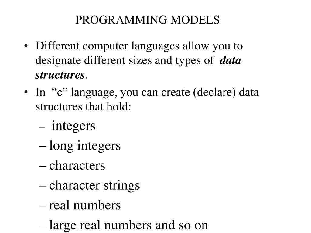 PROGRAMMING MODELS
