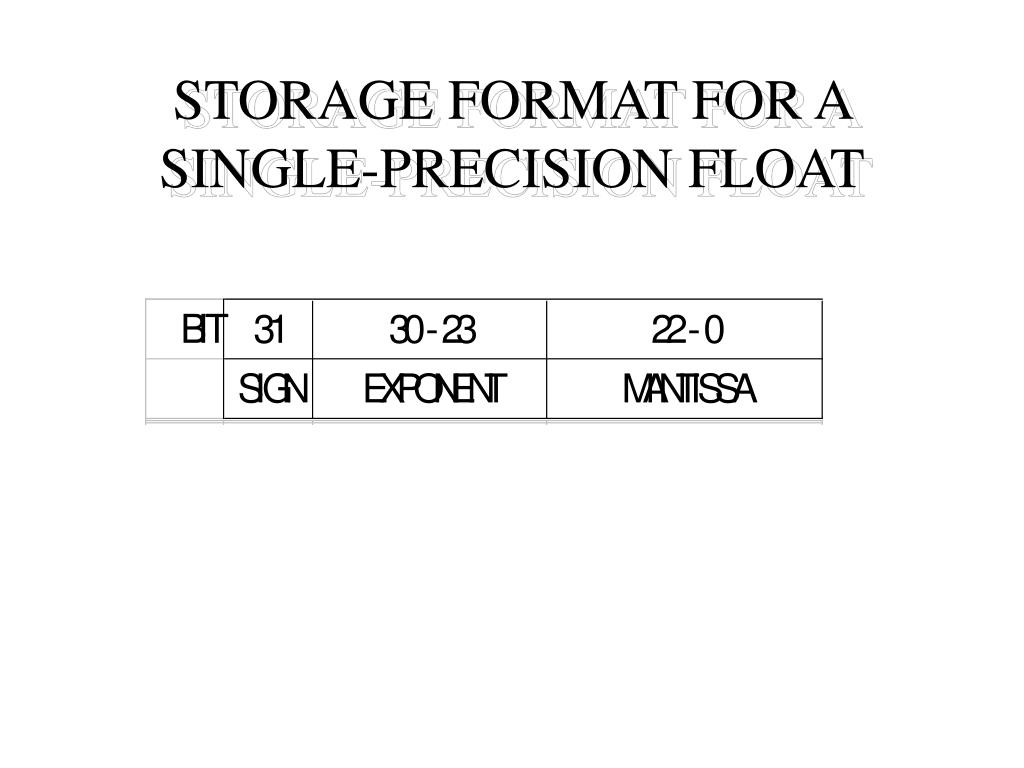 STORAGE FORMAT FOR A SINGLE-PRECISION FLOAT