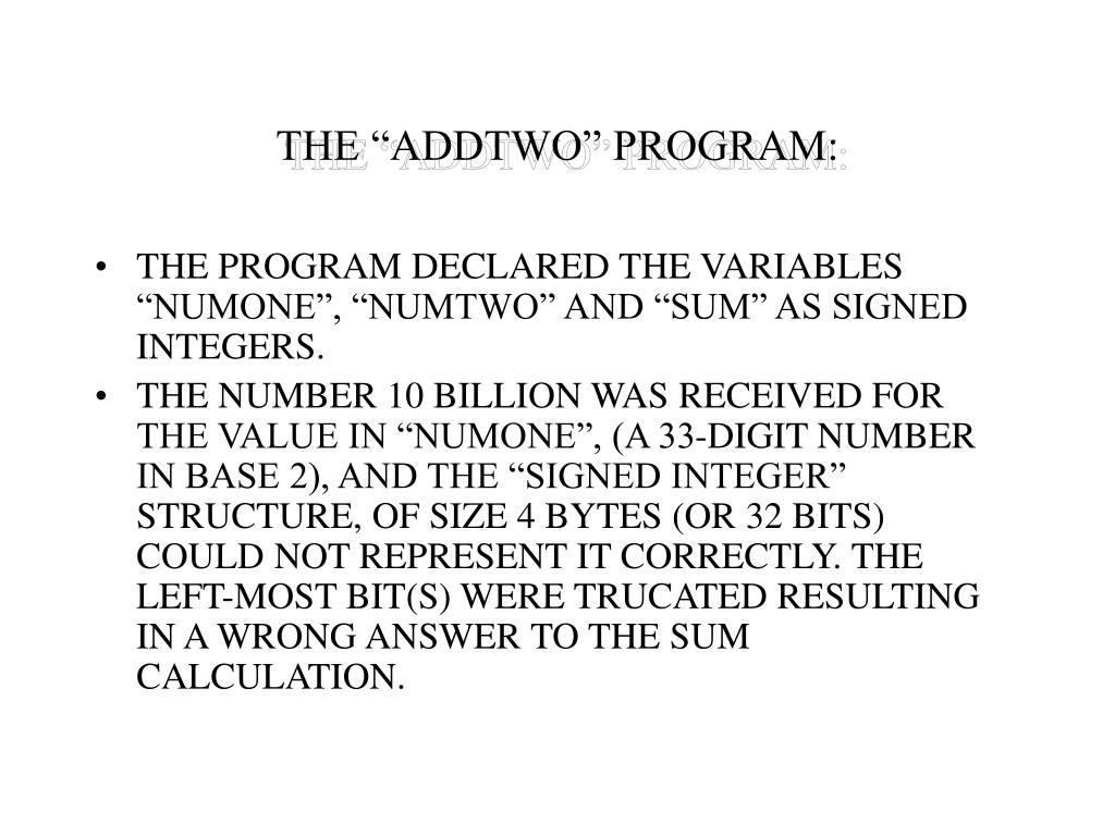 "THE ""ADDTWO"" PROGRAM:"