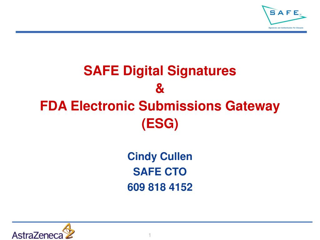 safe digital signatures fda electronic submissions gateway esg l.