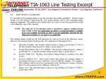 tia 1063 line testing excerpt
