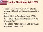 results the stamp act 1765