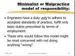 minimalist or malpractice model of responsibility