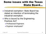 some issues with the texas state board