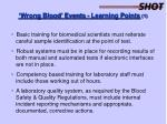 wrong blood events learning points 1