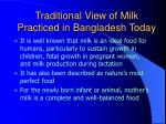 traditional view of milk practiced in bangladesh today66