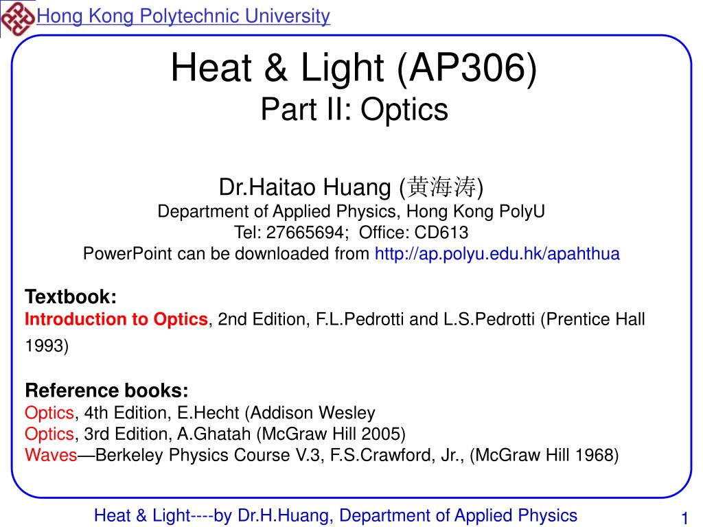 heat light ap306 part ii optics l.