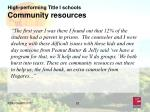 high performing title i schools community resources