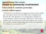 high performing title i schools parent community involvement