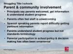struggling title i schools parent community involvement