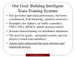 our goal building intelligent team training systems
