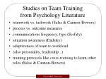 studies on team training from psychology literature