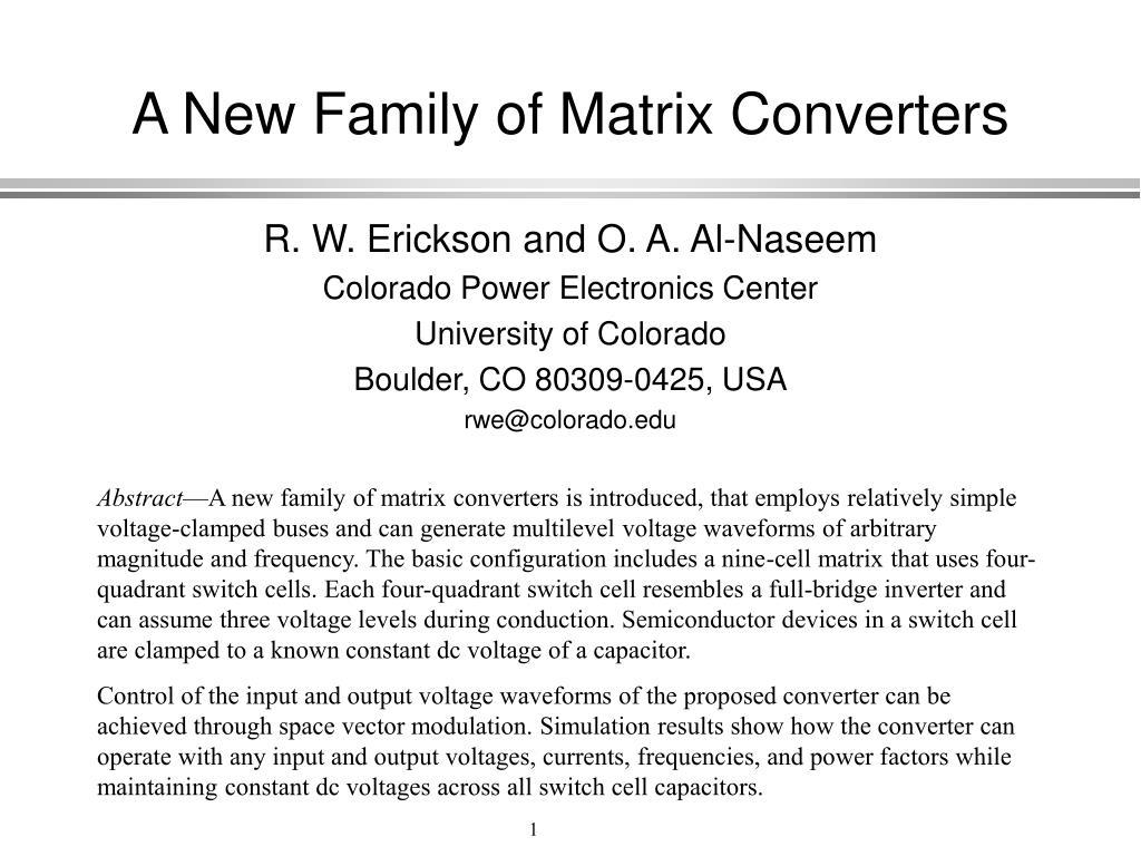 a new family of matrix converters l.