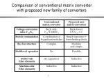 comparison of conventional matrix converter with proposed new family of converters