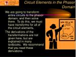 circuit elements in the phasor domain