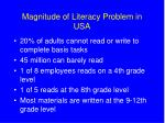magnitude of literacy problem in usa