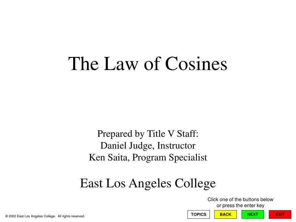 the law of cosines l.