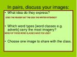 in pairs discuss your images