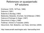references on quasiperiodic kp solutions